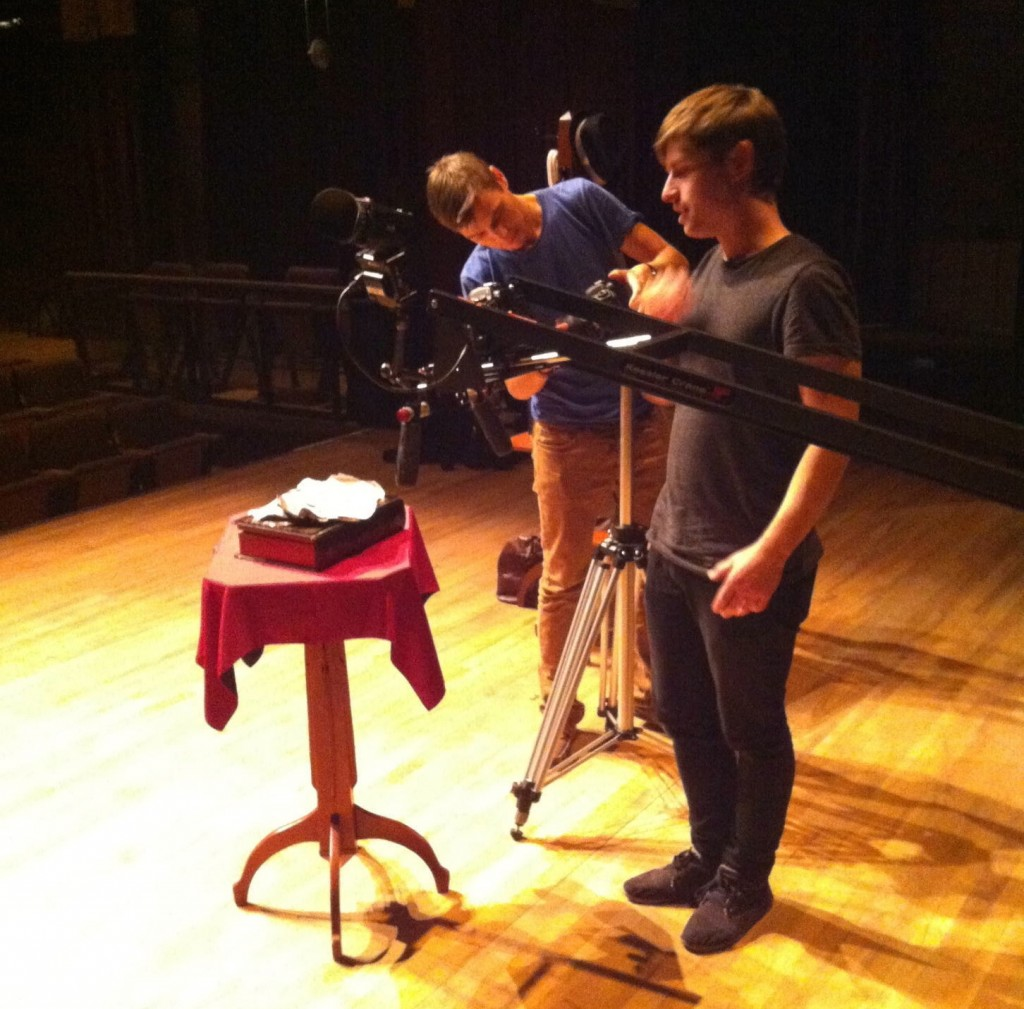 Using a camera crane to film the close-up sequence at the beginning of the video.
