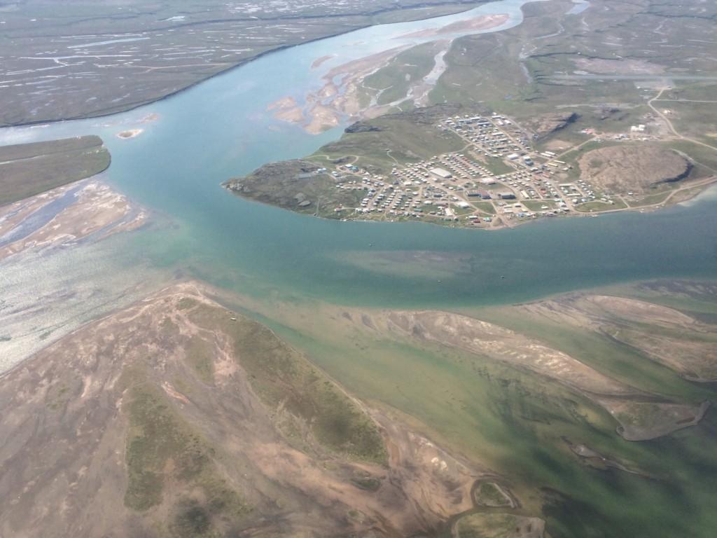 Arial view of Kugluktuk, Nunavut.